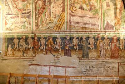 Slowenien, UNESCO-Welterbe-Kirche in Hrastovlje, Fresko Totentanz